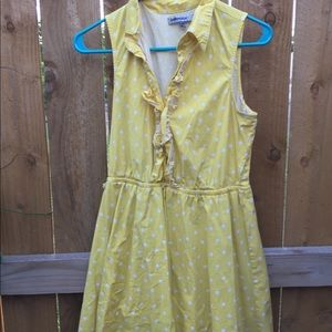bailey blue Yellow w/ White Polka Dots Large Dress